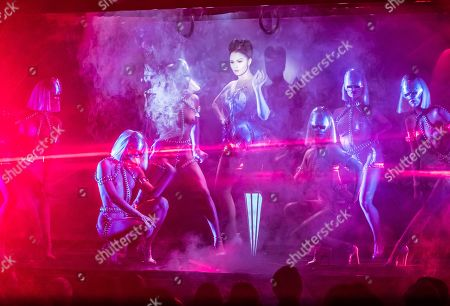 Viktoria Modesta (C) performs with dancers during the premiere of 'Bionic Show Girl' at the Crazy Horse in Paris, France, 02 June 2019 (issued 03 June 2019). The 31-year-old British Letton-born performer, who has one leg amputated at the age of 20, plays with her prosthesis as a costume. Modesta's show will runs from 02 June for 29 performances.