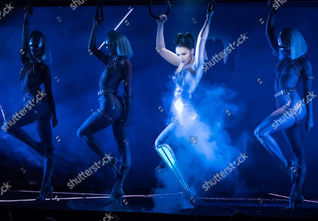 Viktoria Modesta (C) performs with dancers during the premiere of 'Bionic Show Girl' at the Crazy Horse in Paris, France, 02 June 2019 (issued 03 June 2019). The 31-year-old British Letton-born performer, who had one leg amputated at the age of 20, plays with her prosthesis as a costume. Modesta's show will runs from 02 June for 29 performances.