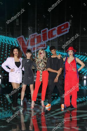 The finalists Brenda, Carmen, Diablo and Miriam with Simona Ventura at the final of the talent show 'The Voice of Italy' broadcast on RaiDue