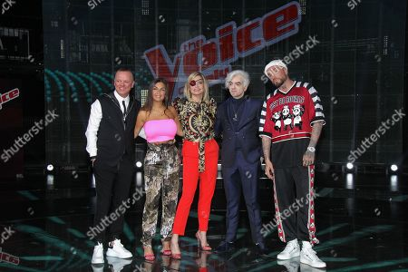 Gigi D'Alessio, Elettra Lamborghini, Simona Ventura, Morgan and Guè Pequeno at the final of the talent show 'The Voice of Italy' broadcast on RaiDue