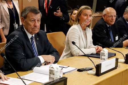 Augusto Santos Silva, Federica Mogherini, Rodolfo Nin Novoa. Uruguay's Foreign Minister Rodolfo Nin Novoa, left, European Union High Representative Federica Mogherini, center, and Portugal's Foreign Minister Augusto Santos Silva, members of the International Contact Group for the Lima Group, are photographed before their meeting at United Nations headquarters