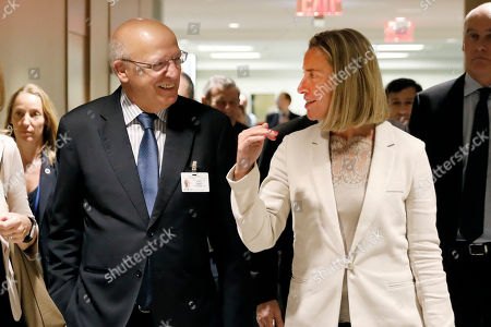 Augusto Santos Silva, Federica Mogherini. European Union High Representative Federica Mogherini, and Portugal's Foreign Minister Augusto Santos Silva, members of the International Contact Group for the Lima Group, arrive for their meeting at United Nations headquarters