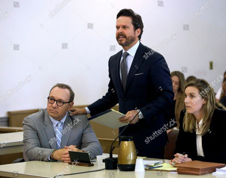 Kevin Spacey, Alan Jackson. Actor Kevin Spacey, left, listens to attorney Alan Jackson address the court during a pretrial hearing, at district court in Nantucket, Mass. The Oscar-winning actor is accused of groping the teenage son of a former Boston TV anchor in 2016 in the crowded bar at the Club Car in Nantucket