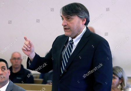 Brian Glenny, first assistant district attorney, addresses the court during a pretrial hearing for actor Kevin Spacey, at district court in Nantucket, Mass. The Oscar-winning actor is accused of groping the teenage son of a former Boston TV anchor in 2016 in the crowded bar at the Club Car in Nantucket