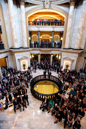 Well-wishers, friends, public officials and relatives pack the rotunda at the Mississippi state Capitol in Jackson, Miss., for the first of two funeral services for the late Republican Sen. Thad Cochran, in Jackson, Miss., . Cochran was 81 when he died Thursday in a veterans' nursing home in Oxford, Mississippi