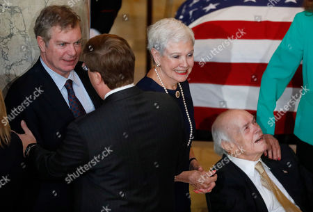 Nielsen Cochran, Kay Webber Cochran, Clayton Cochran. Kay Webber Cochran, center, widow of the late former U.S. Sen. Thad Cochran, and his son Clayton Cochran, left, join Cochran's brother Nielsen Cochran in a reception line following the first of two funeral services for the late Republican senator, in the Mississippi State Capitol rotunda in Jackson, Miss., . Cochran was 81 when he died Thursday in a veterans' nursing home in Oxford, Mississippi. He was the 10th longest serving senator