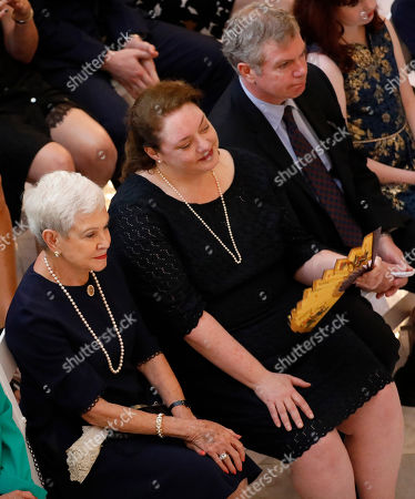 Kate Cochran, Kay Webber Cochran, Clayton Cochran. Kay Webber Cochran, left, widow of the late former U.S. Sen. Thad Cochran, and his daughter Kate Cochran, center, and son Clayton Cochran, right, listen to remarks during the first of two funeral services for the late Republican senator, in the Mississippi State Capitol rotunda in Jackson, Miss., . Cochran was 81 when he died Thursday in a veterans' nursing home in Oxford, Mississippi. He was the 10th longest serving senator