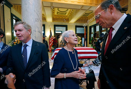 Kay Webber Cochran, Clayton Cochran, Delbert Hosemann. Kay Webber Cochran, center, widow of the late former U.S. Sen. Thad Cochran, and his son Clayton Cochran, left, greet well-wishers including Mississippi Secretary of State Delbert Hosemann, following the first of two funeral services for the late Republican senator, in the Mississippi State Capitol rotunda in Jackson, Miss., . Cochran was 81 when he died Thursday in a veterans' nursing home in Oxford, Mississippi