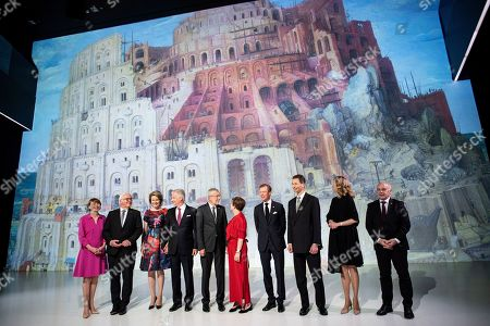 German President Frank-Walter Steinmeier (2-L) and his wife Elke Buedenbender (L), King Philippe of Belgium (4-L) and wife Queen Mathilde (3-L), Austrian President Alexander Van der Bellen (5-L) and his wife Doris Schmidauer (5-R), Duke Henri of Luxembourg (4-R), Prince Alois von Liechtenstein (3-R) and Princess Sophie (2-R), and Swiss President Ueli Maurer (R) pose for photographs during a visit at the Ars Electronica Center part of a German speaking head of state meeting in Linz, Austria, 03 June 2019.