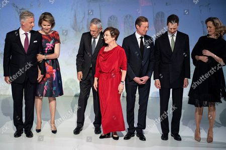 (L-R) King Philippe of Belgium and wife Queen Mathilde, Austrian President Alexander Van der Bellen and his wife Doris Schmidauer, Duke Henri of Luxembourg, Prince Alois von Liechtenstein and Princess Sophie arrive for a visit at the Ars Electronica Center part of a German speaking head of state meeting in Linz, Austria, 03 June 2019.