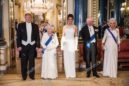 Queen Elizabeth II with Prince Philip, Donald Trump, President of The United States of America and his wife Melania Trump at State Banquet, Buckingham Palace