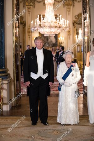 US President Donald Trump and Queen Elizabeth II in the Music Room at the State Banquet, Buckingham Palace