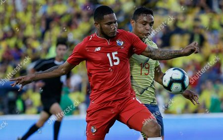Stock Picture of Panama's Eric Davis, front, fights for the ball with Colombia's Luis Muriel during a friendly soccer match at El Campin stadium in Bogota, Colombia