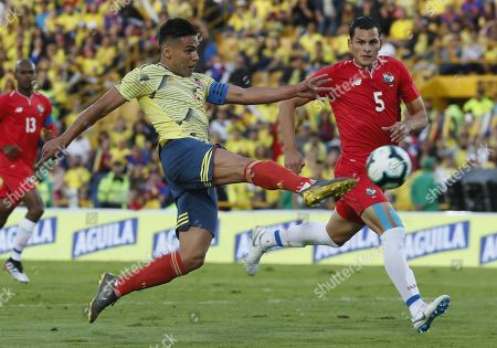 Falcao Garcia (L) of Colombia in action against Juan Carlos Vargas (R) of Panama during a friendly match between the national soccer teams of Colombia and Panama, at El Campin Stadium in Bogota, Colombia, 03 June 2019.