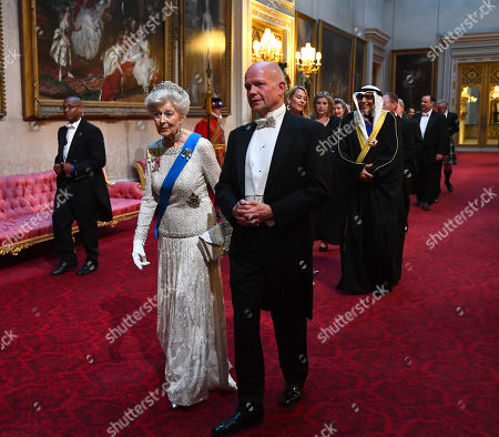 Princess Alexandra of Kent, The Honourable Lady Ogilvy and Lord Hague of Richmond arrive through the East Gallery during the State Banquet at Buckingham Palace, London, on day one of the US President's three day state visit to the UK