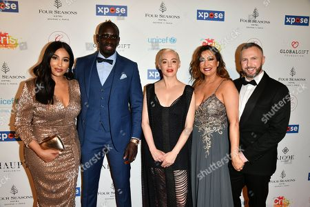 Mamadou Sakho with his wife, Rose McGowan, Maria Bravo and guest