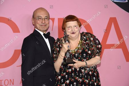 Lynn Yaeger, Harold Koda. Presenter Harold Koda, left, and honoree Lynn Yaeger pose in the winner's walk with the Media award in honor of Eugeina Sheppard at the CFDA Fashion Awards at the Brooklyn Museum, in New York
