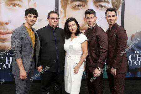 "Joe Jonas, Paul Kevin Jonas Sr., Denise Jonas, Nick Jonas, Kevin, Jonas Brothers. Joe Jonas, from left, Paul Kevin Jonas Sr., Denise Jonas, Nick Jonas, Kevin attend the World Premiere of ""Chasing Happiness"", in Los Angeles"