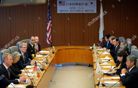 Acting US Defense Secretary Patrick Shanahan (L) and Japanese Defense Minister Takeshi Iwaya (R) hold their talks at the Ministry of Defense in Tokyo, Japan, 04 June 2019. Shanahan is in Japan on an Asian tour after visiting Indonesia, Singapore and South Korea.
