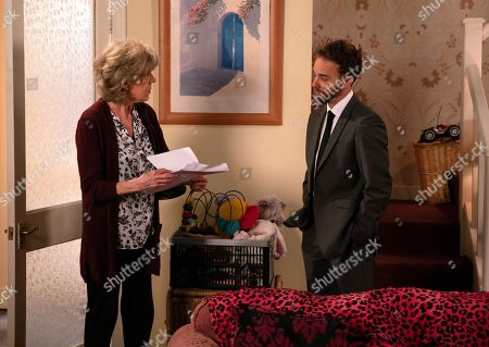 Ep 9789 Friday 7th June 2019 - 1st Ep David Platt, as played by Jack P Shepherd, hands Audrey Roberts, as played by Sue Nicholls, a legal document and explains that he's transferred the barber's shop, lock, stock and barrel into her name. Audrey's gobsmacked. David reveals to Gail and Shona that he's transferred the barber's to Audrey in an attempt to make amends.