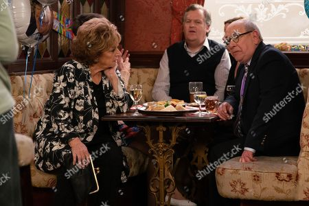 Ep 9790 Friday 7th June 2019 - 2nd Ep Sporting his Commonwealth Games Medal, Norris Cole, as played by Malcolm Hebden, finally arrives for his farewell party in the Rovers. Mary's overcome with emotion. With Rita Tanner, as played by Barbara Knox, Brian Packham, as played by Peter Gunn.