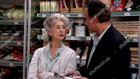 Ep 9788 Wednesday 5th June 2019 - 2nd Ep In the shop, Dev Alahan, as played by Jimmi Harkishin, shows Evelyn Plummer, as played by Maureen Lipman, the ropes and lectures her about customer service.