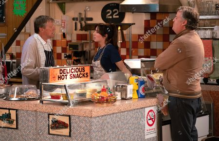 Ep 9801 Friday 21st June 2019 - 1st Ep Roy Cropper, as played by David Neilson, reveals he's off to Cumbria for a few days to scatter Sylvia's ashes and visit Carla. With Shona Ramsey, as played by Julia Goulding, Brian Packham, as played by Peter Gunn.