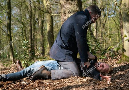 Ep 9799 Wednesday 19th June 2019 - 1st Ep In the woods Gary Windass, as played by Mikey North, fights for his life as he's overpowered by a much stronger, more prepared Rick, as played by Greg Wood. Is this the end for Gary?