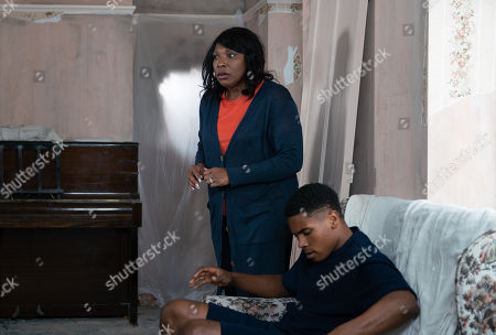 Ep 9797 Monday 17th June 2019 - 1st Ep Aggie Bailey, as played by Lorna Laidlaw, and Claudia wage war through the hole in the wall. With James Bailey, as played by Nathan Graham.
