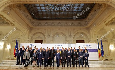 Phil Hogan, European Commissioner for Agriculture and Rural Development (C-L) and Petre Daea, Romanian Agriculture Minister (center-R), accompanied by other delegates, pose for the family photo at the Informal Council of the Ministers of Agriculture and Fisheries held at Parliament Palace in Bucharest, Romania, 04 June 2019.