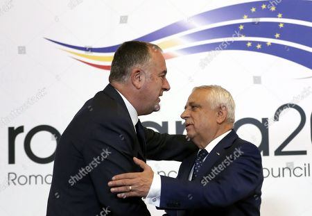 Stock Photo of Didier Guillaume, Minister for Agriculture and Food of France (L), is welcomed by Romanian Agriculture Minister Petre Daea (R) at an Informal Council of the Ministers of Agriculture and Fisheries held at Parliament Palace in Bucharest, Romania, 04 June 2019.