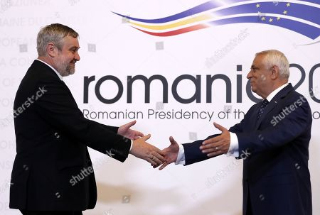 Jan Krzysztof Ardanowski, Minister of agriculture and rural development of Poland (L), is welcomed by Romanian Agriculture Minister Petre Daea (R) at an Informal Council of the Ministers of Agriculture and Fisheries held at Parliament Palace in Bucharest, Romania, 04 June 2019.