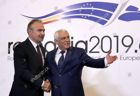 Stock Image of Istvan Nagy, Minister of Agriculture of Hungary (L), is welcomed by Romanian Agriculture Minister Petre Daea (R) at an Informal Council of the Ministers of Agriculture and Fisheries held at Parliament Palace in Bucharest, Romania, 04 June 2019.