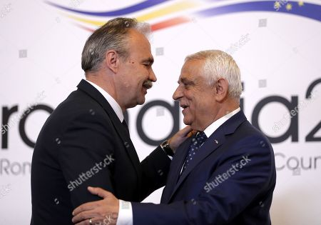 Istvan Nagy, Minister of Agriculture of Hungary (L), is welcomed by Romanian Agriculture Minister Petre Daea (R) at an Informal Council of the Ministers of Agriculture and Fisheries held at Parliament Palace in Bucharest, Romania, 04 June 2019.