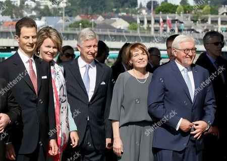 Prince Alois von Liechtenstein, Queen Mathilde and King Philippe of Belgium, Elke Buedenbender and her husband German President Frank-Walter Steinmeier, from left, arrive at Lentos museum in Linz, Austria