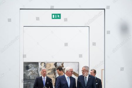 German President Frank-Walter Steinmeier (C), King Philippe of Belgium (L), Austrian President Alexander Van der Bellen, Duke Henri of Luxembourg (R), Prince Alois von Liechtenstein (2-L) arrive for a press statement at the Lentos Art Museum for a German speaking head of state meeting in Linz, Austria, 04 June 2019.