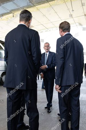 Stock Picture of Austrian President Alexander Van der Bellen (C) Duke Henri of Luxembourg (R), Prince Alois von Liechtenstein (L) after a press statement at the Lentos Art Museum for a German speaking head of state meeting in Linz, Austria, 04 June 2019.