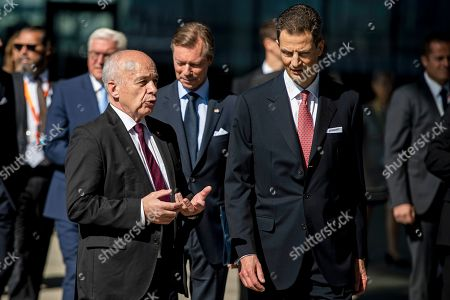 Prince Alois von Liechtenstein (R) and Swiss President Ueli Maurer (L) arrive at the Lentos Art Museum for a German speaking head of state meeting in Linz, Austria, 04 June 2019.