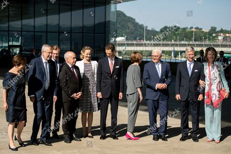 German President Frank-Walter Steinmeier (3-R) and his wife Elke Buedenbender (4-R), King Philippe of Belgium (2-R) and wife Queen Mathilde (R), Austrian President Alexander Van der Bellen (2-L) and his wife Doris Schmidauer (L), Duke Henri of Luxembourg (3-L), Prince Alois von Liechtenstein (6-L) and Princess Sophie (5-L), and Swiss President Ueli Maurer (4-L) arrive at the Lentos Art Museum for a German speaking head of state meeting in Linz, Austria, 04 June 2019.