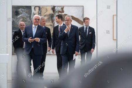 German President Frank-Walter Steinmeier (2-L), King Philippe of Belgium (3-L), Austrian President Alexander Van der Bellen (2-R), Duke Henri of Luxembourg (R), Prince Alois von Liechtenstein (3-R) and Swiss President Ueli Maurer (L) arrive for a press statement at the Lentos Art Museum for a German speaking head of state meeting in Linz, Austria, 04 June 2019.