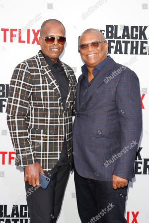 US producer Byron Phillips (L) and US director Reginald Hudlin arrive for the world premiere of 'The Black Godfather' at the Paramount Theater in Hollywood, Los Angeles, California, USA, 03 June 2019. The movie opens globally 07 June 2019.