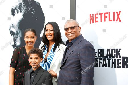 Reginald Hudlin (R), wife Chrisette Suter and their childre arrive for the world premiere of 'The Black Godfather' at the Paramount Theater in Hollywood, Los Angeles, California, USA, 03 June 2019. The movie opens globally 07 June 2019.