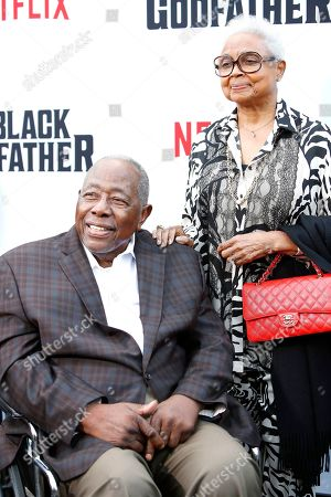 Retired pro-baseball player Hank Aaron (L) and his wife Billye Aaron (R) arrive for the world premiere of The Black Godfather at the Paramount Theater in Hollywood, Los Angeles, California, USA, 03 June 2019. The movie opens globally 07 June 2019.