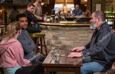 Ep 8503 Wednesday 12th June 2019 Bear, as played by Joshua Richards, tries to get a pub football side off the ground. With Ellis, as played by Asan N'Jie, Belle Dingle, as played by Eden Taylor-Draper.