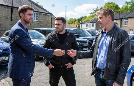 Ep 8504 Thursday 13th June 2019 - 1st Ep Robert Sugden, as played by Ryan Hawley, & Aaron Dingle, as played by Danny Miller, arrive at the car dealership where Lee, as played by Kris Mochrie, offers to take them on a test drive...