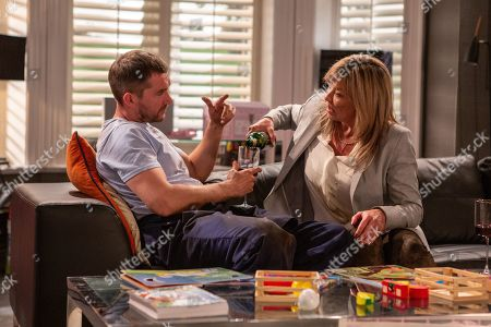 Ep 8513 Friday 21st June 2019  Pete Barton, as played by Anthony Quinlan, pulls Kim Tate's, as played by Claire King, car from the mud with his tractor. Later, at Home Farm, Kim insists Pete stay for a drink?