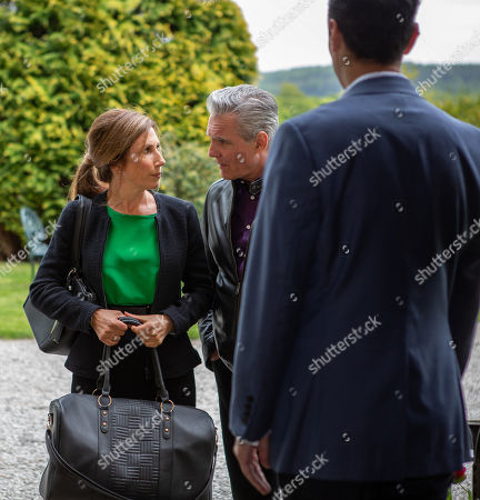 Stock Image of Ep 8508 Tuesday 18th June 2019 - 1st Ep Megan Macey, as played by Gaynor Faye, puts on a front as she worries about how she'll cope with her sentencing, insistent Eliza shouldn't visit her if she goes to prison. With Frank Clayton, as played by Michael Praed.