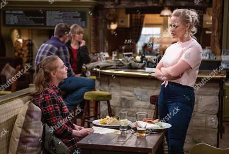Ep 8507 Monday 17th June 2019 Amy Wyatt, as played by Natalie Ann Jamieson, agrees to a date with Nate which is interrupted by Tracy Metcalfe, as played by Amy Walsh, and Kerry Wyatt as they reprimand Nate for taking Amy on a date so shortly after sleeping with Tracy.