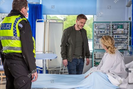 Ep 8500 Monday 10th June 2019 David Metcalfe, as played by Matthew Wolfenden, goes to the hospital to confront Maya, as played by Louisa Clein, where they exchange angry words, just as PC Swirling, as played by Andy Moore, arrives.