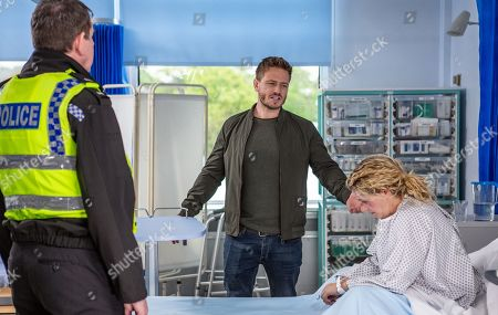 Stock Picture of Ep 8500 Monday 10th June 2019 David Metcalfe, as played by Matthew Wolfenden, goes to the hospital to confront Maya, as played by Louisa Clein, where they exchange angry words, just as PC Swirling, as played by Andy Moore, arrives.